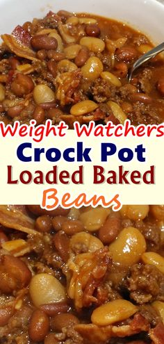 Crock Pot Loaded Baked Beans are a family favorite! It is finally feeling like fall in the Pacific Northwest, the rain has come back to us. It was a long hot dry summer, and this is one of the first times I was so excited to see the rain. Baked Bean Recipes, Healthy Crockpot Recipes, Ww Recipes, Slow Cooker Recipes, Gourmet Recipes, Cooking Recipes, Beans Recipes, Family Recipes, Recipies