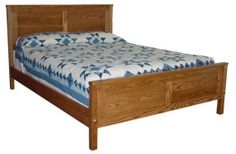 Simple shaker style panel bed, made of solid wood and handcrafted by Amish. Comes in various sizes and finishes.