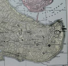 1900 Antique CONStANTINOPLE Map of Constantinople by plaindealing