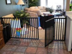 DIY any-size baby (or dog!) gate.  These things are so so expensive to buy!  Nice alternative to save money!