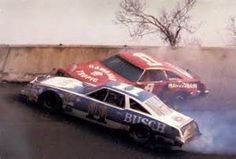 1979 Daytona 500. Donnie Allison and Cale Yarborough crash on the last lap, fighting for the win.