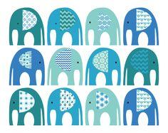 25% SALE Elephant Clip Art. Teal Turquoise Blue от SupernowDesign