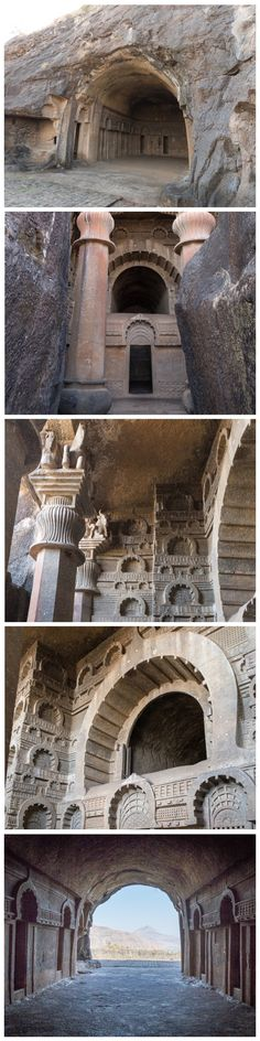 Bedse Caves, India. These amazing rock-cut caves are carved to perfection. The conventional view is that they were carved by Tibetan and Chinese monks with primitive tools over a very long period of time (200 BC - 100 AD). But their perfection challenges our imagination. The tolerances and dimensions show an advanced understanding of mathematics, design, planning and technology.