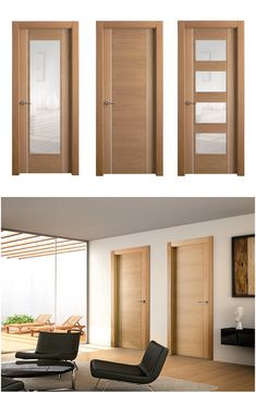 Painted doors with glass 3 panel or glass only at top if for Puertas dobles de madera