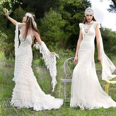 Yolan Cris romantic wedding dresses Alquimia 2010 collection - Marina and Kia lace bridal gowns