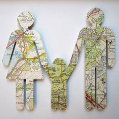 Silhouettes of family out of maps