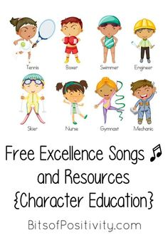 Excellence is one of the three core Olympic values. Here you'll find free excellence songs and rhymes (character education resources) for home or school - Bits of Positivity Toddler Books, Childrens Books, Social Skills Lessons, Free Songs, Finger Plays, Character Education, Homeschool Curriculum, Classroom Management, The Unit