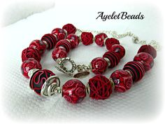 Red and Elegant handmade beads  one of a kind by Ayeletbeads, $98.00