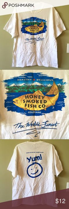 🐟Colorado Honey Smoked Fish Co. White T Shirt XL Colorado Honey Smoked Fish Company Soft Cotton Short Sleeve White Tee Shirt XL. Used, good condition. I ❤️ Reasonable Offers! Hanes Shirts Tees - Short Sleeve