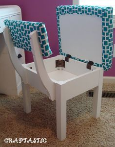 """Secret compartment chair: I have one as my Sewing Chair. I absolutely love it! - could take regular chair and add plywood """"bottom"""" to it Storage Chair, Diy Casa, Secret Compartment, Built In Storage, Extra Storage, Cool Chairs, Small Chairs, Blue Chairs, Home Organization"""