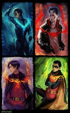 DC Comics Dick Grayson, Jason Todd, Tim Drake, and Damian Wayne. Nightwing, Batwoman, Batgirl, Batman Kunst, Batman Art, Robin Dc, Batman Robin, Gotham Batman, Tim Drake