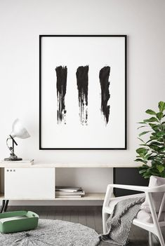 Abstract Painting, Black and White Watercolour Wall Art, Modern Minimalist Print, Brush Stroke, Printable Digital Download, Large Ink Poster
