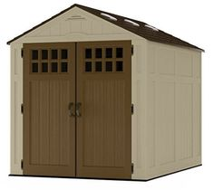Suncast x Everett Vertical Storage Shed - Outdoor Storage for Backyard Tools and Accessories - All-Weather Resin Material, Transom Windows and Shingle Style Roof - Wood Grain Texture Plastic Storage Sheds, Outdoor Storage Sheds, Storage Shed Plans, Storage Ideas, Plastic Sheds, Pool Storage, Kayak Storage, Suncast Sheds, Garbage Shed