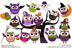 Halloween owls Digital clip art for Personal by Giftseasonstore