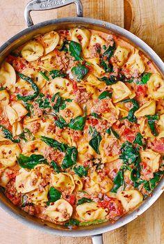 Creamy Mozzarella, Sausage, Spinach, Tomato Tortellini
