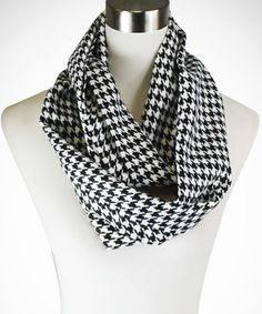 This Black & White Houndstooth Infinity Scarf by TROO is perfect! #zulilyfinds