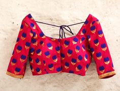 Fuchsia Padded Silk Blouse with Floral Motifs and by Amoristudios
