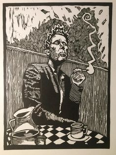 Tom Waits Illustrated by Penyo Ivanov 2016 Illustrations, Illustration Art, Wie Zeichnet Man Manga, Linocut Prints, Art Prints, Lino Art, Art Portfolio, Aesthetic Art, Painting & Drawing