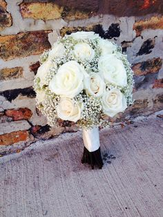 White roses and Baby's Breath Wedding Bouquet--would look good with maroon mums and baby's breath