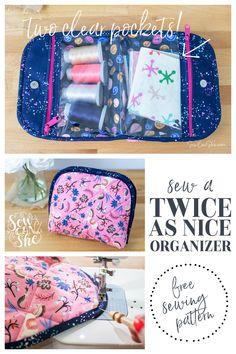 Twice as Nice Zippered Organizer - free sewing pattern — SewCanShe Free Sewing Patterns Tutorials Sewing Patterns Free, Sewing Tutorials, Sewing Projects, Bag Patterns, Sewing Ideas, Sewing Crafts, Sewing Kits, Quilt Tutorials, Diy Projects