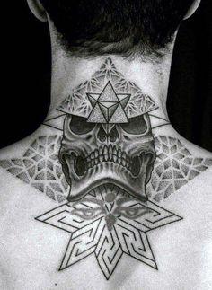 Skull And Stars Back Of Neck Men's Tattoos