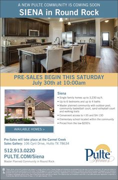 New Homes for Sale in Hutto, Texas  Siena Pre-Selling Begins Tomorrow - Limited Time Pricing Available!  Pre-Sale 7/30 at 10AM |  Single Family Homes up to 3,230 sq. ft.  |  Planned Community with outdoor pool, basketball court, sand volleyball court, and walking trails |  Priced from the low-$200's  http://www.pulte.com/communities/TX/round-rock/Siena/209706/index1.aspx#.V5vlUeLVCM9