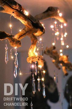 DIY Driftwood Chanelier. http://blog.swell.com/DIY-Driftwood-Chandelier