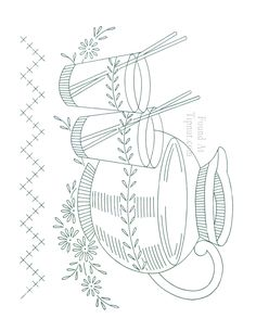 Vintage Embroidery Patterns | Vintage Embroidery Designs: Dishware Set