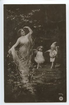 Lady nymph FAIRY Muse Child Gnome original vintage 1910s real photo postcard 9
