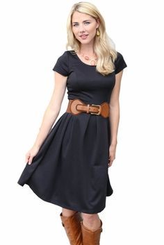 Simple & classic LBD (Little Black Dress) that can be dressed up or down--you choose!   Ivy Modest Dress in Black