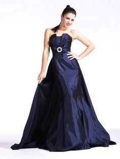 Dark Navy prom dress, so long!