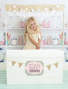 """Backdrop Candy Shop Vinyl Photography Backdrop 6ft x 5ft, Sweet Shop Backdrop, Vintage Candy Shop Background, """"Like a Kid in a Candy Shop"""""""