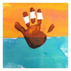 Pirate ship handprints and water coloring