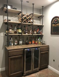 Wall Bar Ideas For Small Spaces & Best Basement Bar Ideas: Cool Home Bar Designs and Decor 59 Cool. The post 59 Cool Basement Bar Design Ideas Guide) appeared first on Mack Makeovers. Small Basement Bars, Basement Bar Designs, Home Bar Designs, Basement Ideas, Basement Plans, Bar For Basement, Small Home Bars, Basement Decorating Ideas, Open Basement
