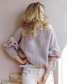 The knit sweatshirt - Stricken Mohair Sweater, Pullover Sweaters, Mode Outfits, Fashion Outfits, Hand Knitting, Knitting Patterns, Pull Mohair, Knit Fashion, Sweater Weather
