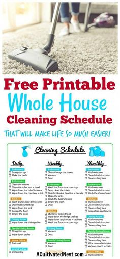 Ideas daily cleaning schedule printable house for 2019 House Cleaning Charts, Household Cleaning Schedule, Cleaning Checklist Printable, House Cleaning Checklist, Clean House Schedule, Cleaning Dust, Cleaning Hacks, Kitchen Cleaning, Cleaning Schedules