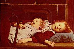 """Children in Art: Albert Anker """"Sleeping Children on Porcelain Stove"""""""