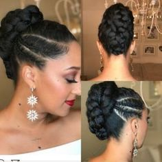 updo for black women with weave, natura hair ponytail, slick bun natural hair, natural hair messy bun Sharing six super cute bridal natural hairstyles as easy diy for black brides to use as inspiration for their upcoming wedding day. My Hairstyle, Ponytail Hairstyles, Girl Hairstyles, Wedding Hairstyles, Hair Ponytail, Black Hairstyles, Protective Hairstyles, Dreadlock Hairstyles, Wedding Updo