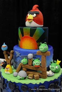 Angry Birds Cake!!! Over the top...yes. Adorable..absolutely!