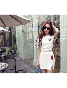 Stylish Round Neck Short T Digital Zipper Bag Hip Skirt Fashion Sports Suit White JY15041315http://www.clothing-dropship.com