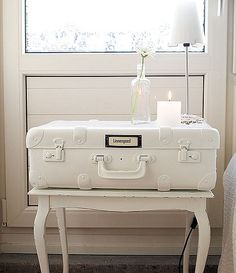nightstand idea...spray painted vintage luggage on a tray stand