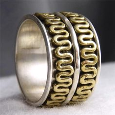 US 8 1/4 ~ Sterling Silver/Brass ~ NEW SilverSari Recessed 3 SPIN SPINNER Ring