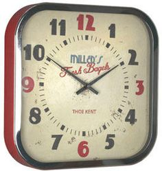 Thomas Kent Diner Clock Red - 12 inch by Red Candy
