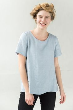 Mens Minimalist Fashion - My Minimalist Living Light Blue Blouse, Minimalist Fashion, Minimalist Clothing, Minimal Outfit, Blue Jumpsuits, Clothing Size Chart, Summer Blouses, Linen Blouse, Loose Tops