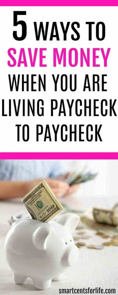 Saving money when you are living paycheck to paycheck can be difficult but not impossible. Here are 5 ways to save money and stop that never-ending cycle. save money on a low income, money saving tips, ways to save money #moneysavingtips #moneytips