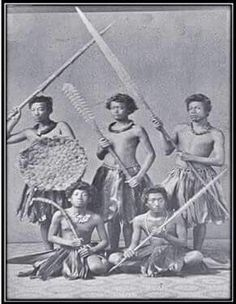 Young Hawaiian warriors of the past, taken 1860.