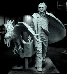 This statue of Edgar Allan Poe titled 'Poe Returning to Boston' will be installed in Boston in October...sculpted by Stefanie Rocknak, a philosophy professor at Hartwick College, who beat out 265 other proposals for the design, according to Boston Magazine. Her clay sculpture will be cast in bronze.