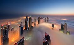 Have you visited Dubai? Photographer Daniel Cheong spent the past six months photographing the record-breaking skyline of Dubai, UAE, at just the right moments Dubai City, Dubai Skyscraper, Dubai Uae, Dubai Skyline, Dubai Buildings, Skyscrapers, Terrazo, Cities, Cloud City