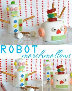 Marshmallow robots...make a whole family with left over Halloween treats on a snowy winters weekend...they will be occupied for hours, guaranteed :)