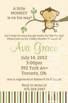 Neutral MONKEY baby shower invitation  YOU by PrettyPartyCreations, $9.50